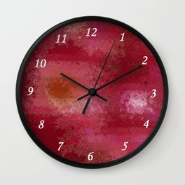 Pink and Red Moon Wall Clock