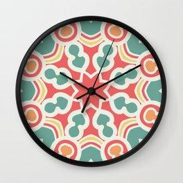Red and green mandala pattern Wall Clock