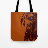 the dude Tote Bags featuring Dude by Brooke Copani