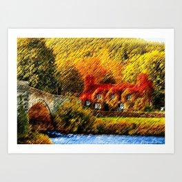 Autumn Foliage House with Red Parthenocissus On House Landscape by Jéanpaul Ferro Art Print