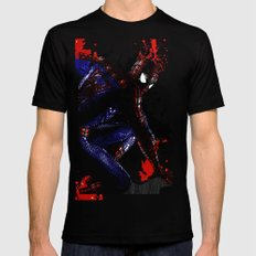 Spiderman in London Close up Black Mens Fitted Tee MEDIUM