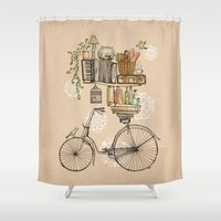 bird Shower Curtains featuring Pleasant Balance by florever