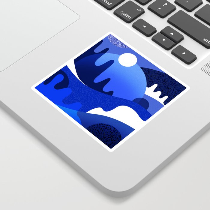 Terrazzo landscape blue night Sticker