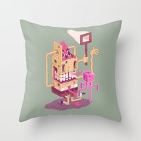 spongebob Throw Pillows featuring Spongebob by Mike Wrobel