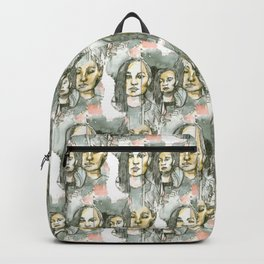watercolor faces pattern Backpack