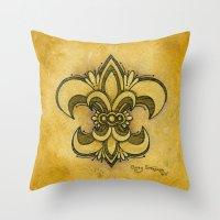 fleur de lis Throw Pillows featuring Michelle Fleur de Lis by Cindy Strecker