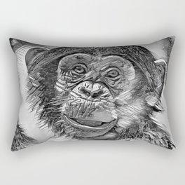 AnimalArtBW_Chimpanzee_20170602_by_JAMColorsSpecial Rectangular Pillow