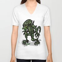 xenomorph V-neck T-shirts featuring Xenophobe?  Well, yeah...  This Alien spits acid! The Aliens Xenomorph Alien! by beetoons