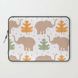 cute pattern background illustration with elephants and tropical exotic leaves Laptop Sleeve