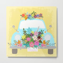 Flower Powered Bug Metal Print