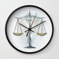 libra Wall Clocks featuring LIBRA by Vibeke Koehler