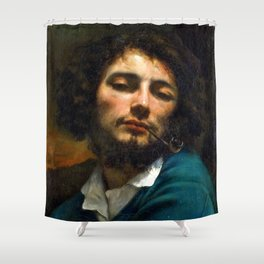 "Gustave Courbet ""Self-portrait"" Shower Curtain"