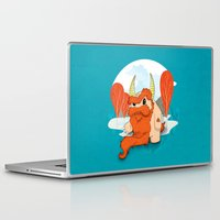 pixies Laptop & iPad Skins featuring Graggy, the plump Happy Chaos Monster of Scotland by Roxie Rose Design