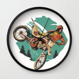 Freestyle Motorcycle Stunts FMX Wall Clock
