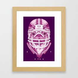 American Pug Football Purple Framed Art Print