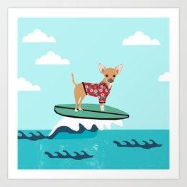 chihuahua surfing cute pet gifts dog lovers chihuahuas Art Print