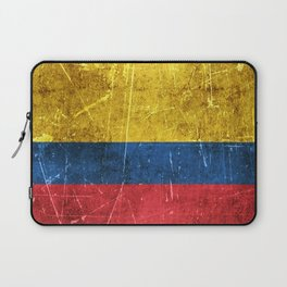Vintage Aged and Scratched Colombian Flag Laptop Sleeve