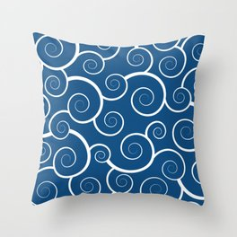 Pantone Classic Blue Spiral Waves Throw Pillow