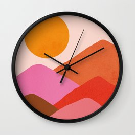 Abstraction_Mountains_SUNSET_Minimalism_008 Wall Clock