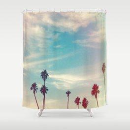 Los Angeles Palm Trees Light Leak Shower Curtain