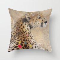 cheetah Throw Pillows featuring Cheetah by Sath