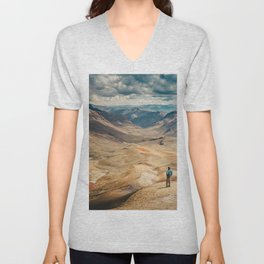 Man front of the mountain Unisex V-Neck