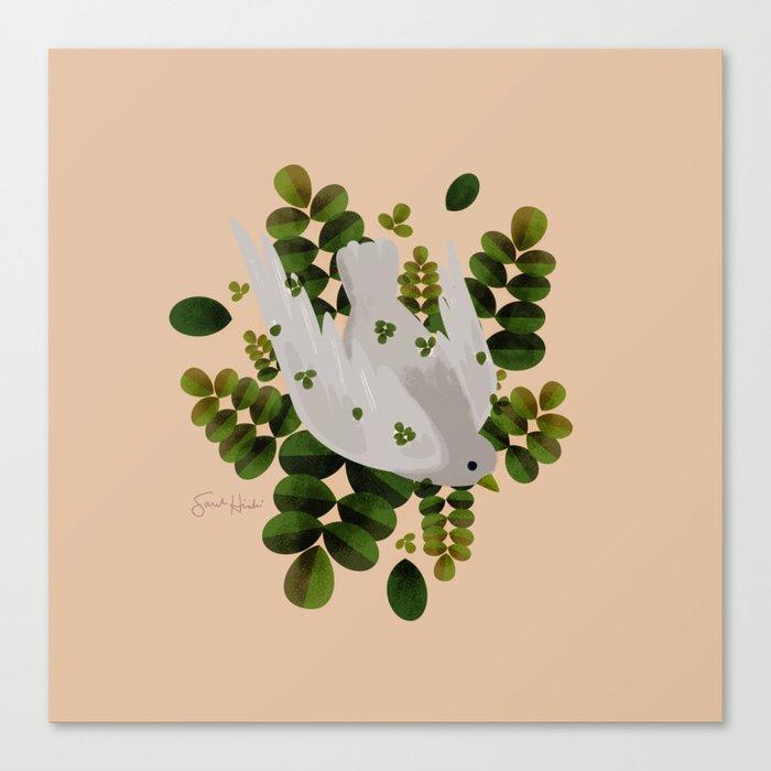 Leaves x Dove Canvas Print