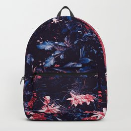 Cobalt And Carmine Bold Night Floral Backpack
