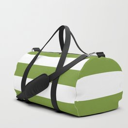 Green and White Stripes Duffle Bag