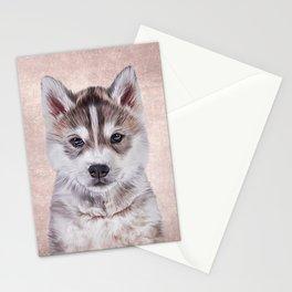 Drawing puppy Husky Stationery Cards