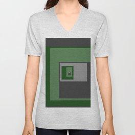 Green Squares Unisex V-Neck
