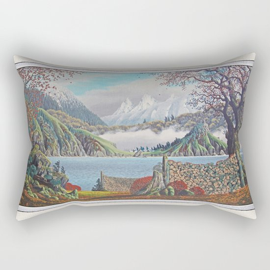 HOME ON THE NORTHWEST COAST OIL PAINTING Rectangular Pillow