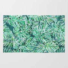 JUNGLE VIBES Green Monstera Watercolor Print Rug