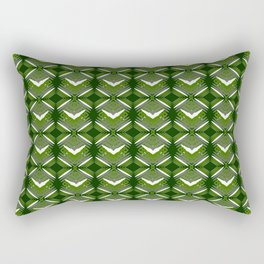 Grassy rhombuses of white stars with hearts in a bright intersection. Rectangular Pillow