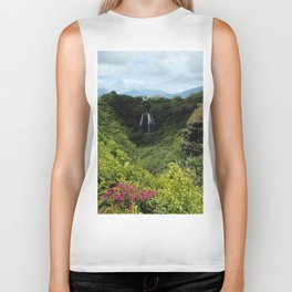 Mountain waterfalls and floral Biker Tank