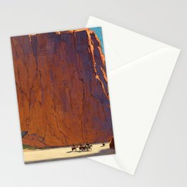 Sunset on the sandstone cliffs, Canyon de Chelly Landscape by Edgar Alwin Payne Stationery Cards