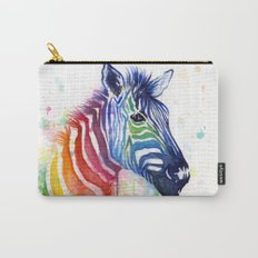 Zebra Rainbow Watercolor Whimsical Animal Carry-All Pouch