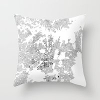 sydney Throw Pillows featuring SYDNEY by Maps Factory