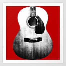 Guitar - Body, Red Background Art Print