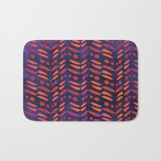 Tribal Pattern on Indigo Bath Mat