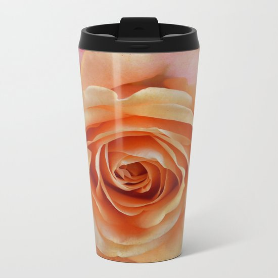 Artistic gorgeous rose with a textured background Metal Travel Mug