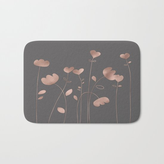 Rosegold pink flowers- floral design- Flower Bath Mat