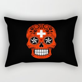 Sugar Skull with Roses and Flag of Switzerland Rectangular Pillow