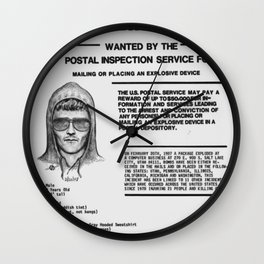 Unabomber Ted Kaczynski Wanted Poster 1 Wall Clock