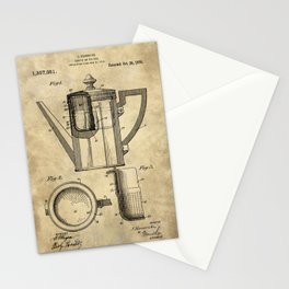 Coffee Pot Blueprint Stationery Cards