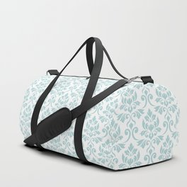 Feuille Damask Pattern Duck Egg Blue on White Duffle Bag