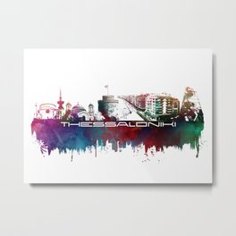 Thessaloniki skyline city blue Metal Print