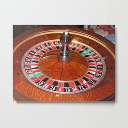 Wooden Roulette wheel casino gaming Metal Print