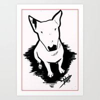 bull terrier Art Prints featuring bull terrier by sabrina.gennari