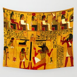 Book of the Dead - The Weighing of the Heart Ritual - Papirus of Ani - Thebes - Egypt - ca. 1250 BCE - New Kingdom - Dynasty XIX - Ancient Egyptian Hieroglyphic Text with Spells, Prayers, and Incantations - Enhanced Version - Amazing Oil painting - Wall Tapestry
